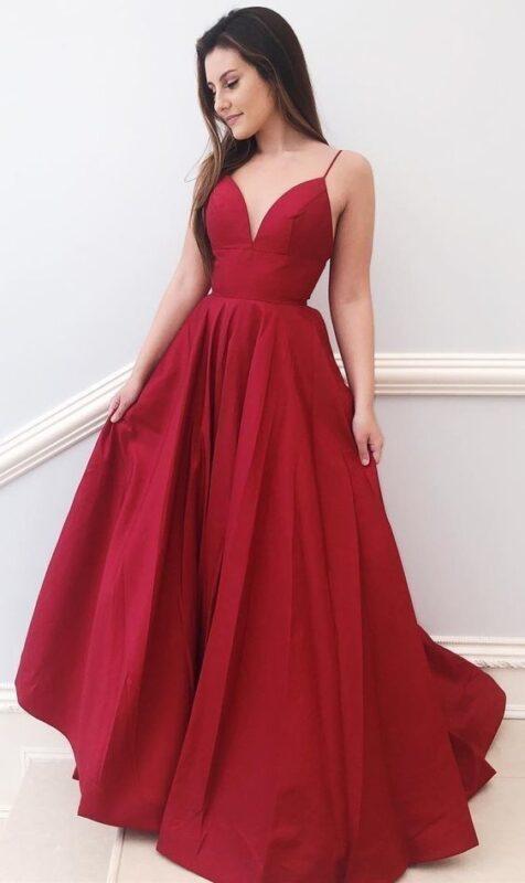Vestido Rojo oscuro elegante