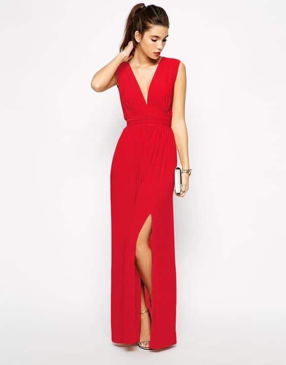 Vestido Rojo sencillo largo