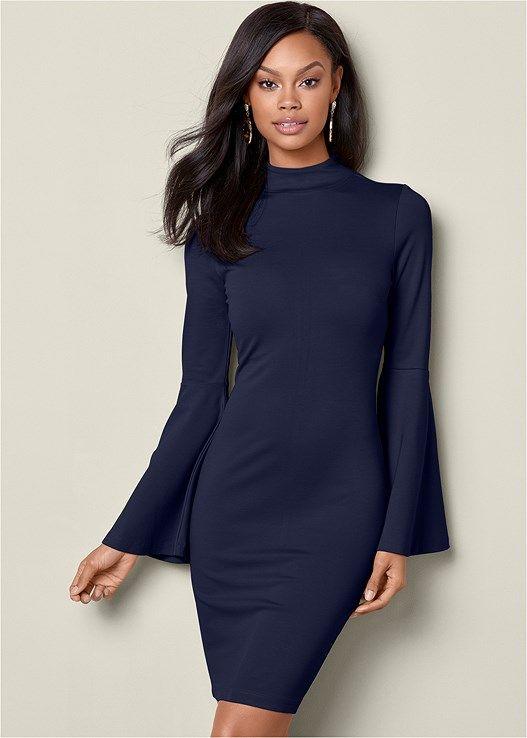 Vestido corto ajustado azul oscuro