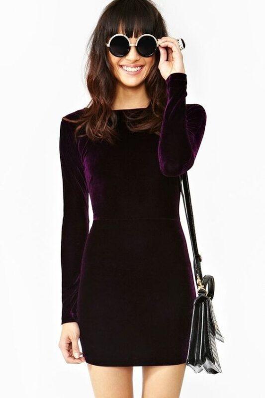 Vestido corto ajustado formal violeta