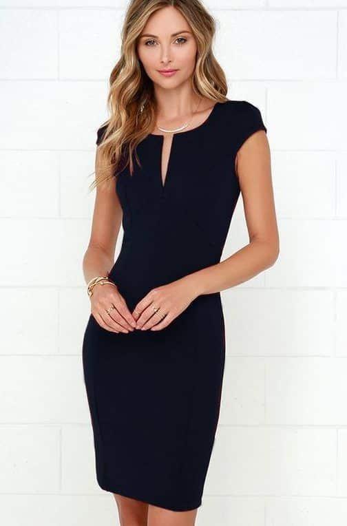 Vestido corto ajustado negro formal