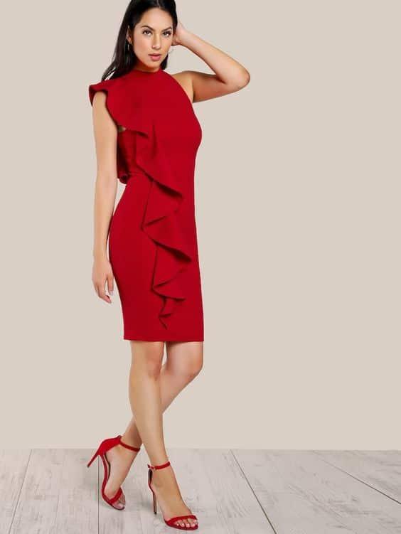 Vestido corto ajustado rojo formal