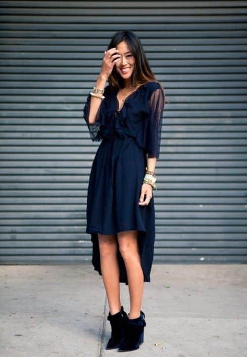 look noche juvenil vestido azul con mangas