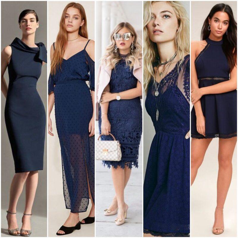 vestido azul oscuro para la noche