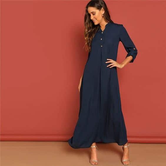vestido azul oscuro tipo tunica