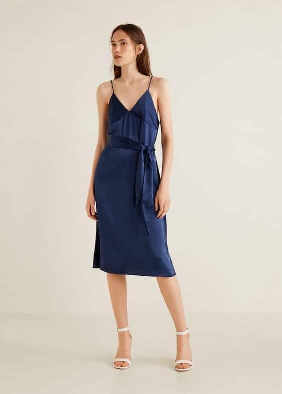 vestido de seda lencero azul