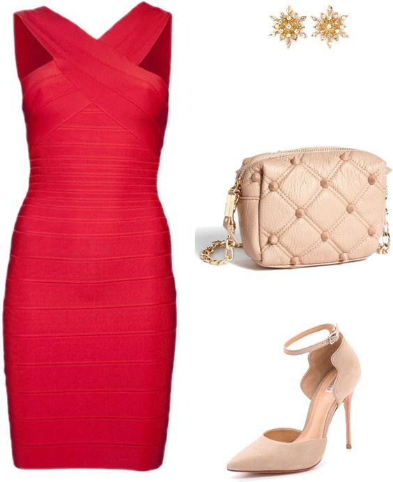 vestido rojo corto y accesorios color piel