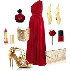 vestido rojo y accesorios dorados