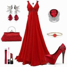 vestido rojo y accesorios plateados