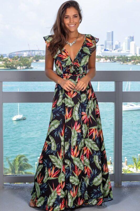Outfits para navidad vestido largo estampado tropical
