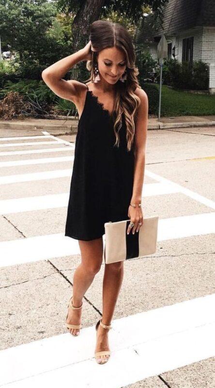 Vestido negro simple y elegante Outfits para navidad