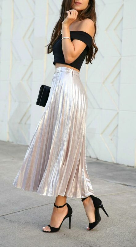 falda plisada plateada Outfits para navidad