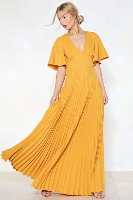 maxi vestido amarillo tipo tunica