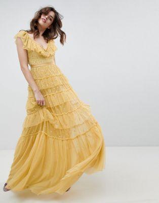 vestido amarillo encaje largo bohemio