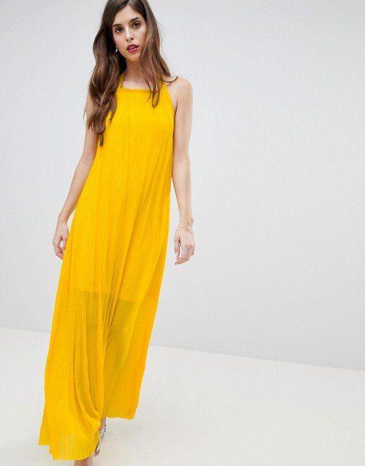 vestido amarillo largo estilo tuica