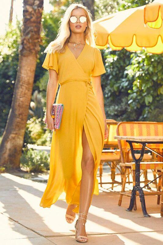 vestido amarillo largo para noche verano