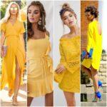 vestido amarillo para la noche
