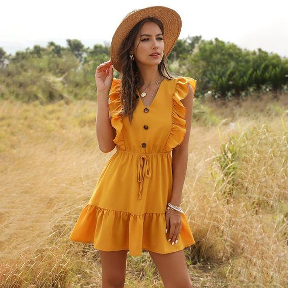 vestido amarillo verano