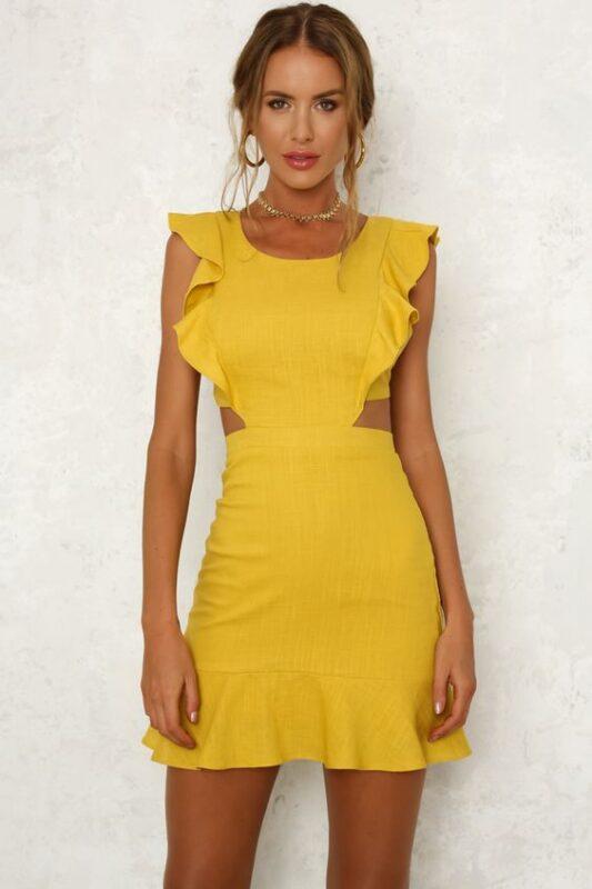 vestido amarillo volados mangass