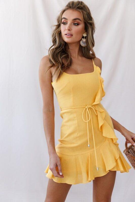 vestido corto amarillo noche verano