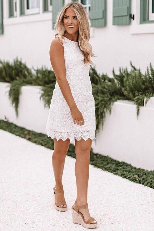 vestido corto encaje blanco fiesta ano nuevo