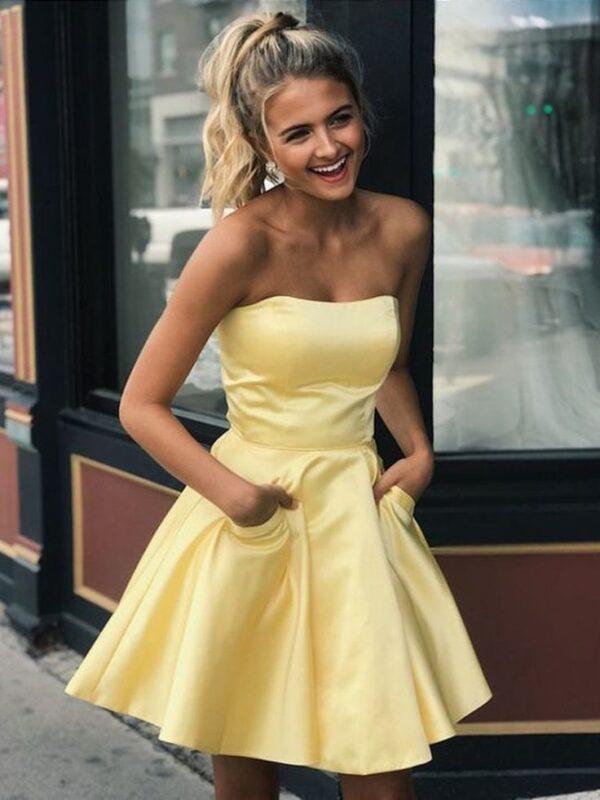 vestido corto strapless amarillo 1