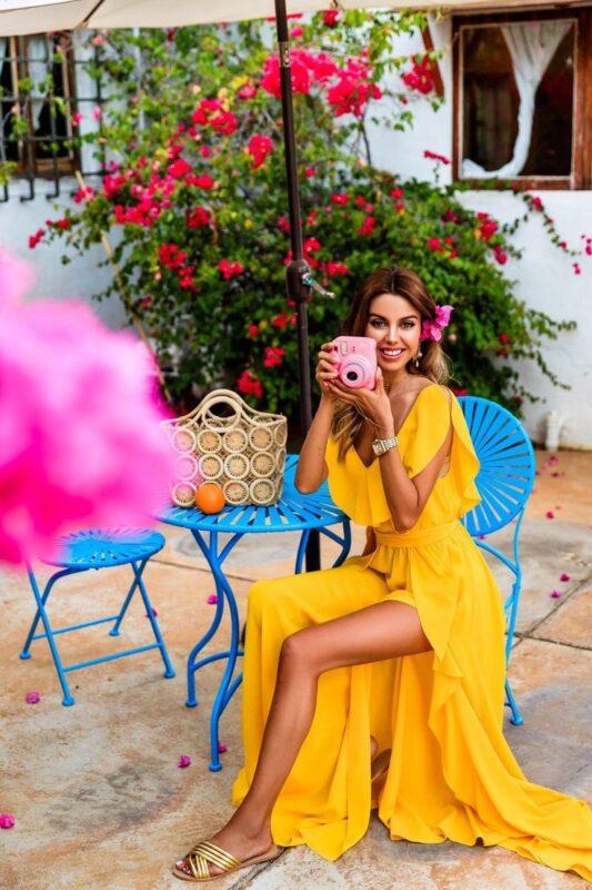 vestido largo amarillo para el verano