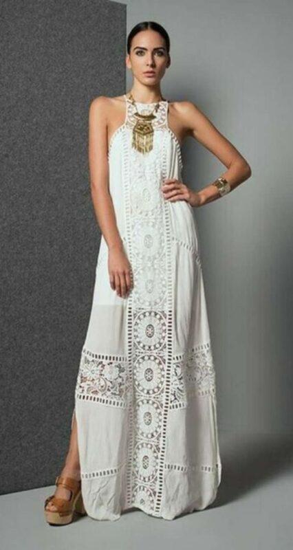 vestido largo blanco estilo tunica bohemio