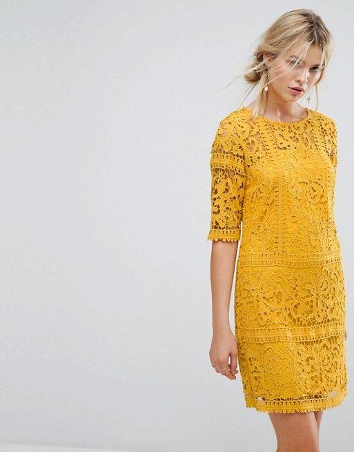 vestido recto encaje amarillo