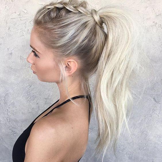 Cola caballo con trenza Peinado noche para pelo largo
