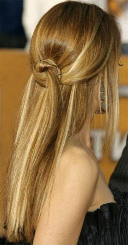 peinado simple pelo lacio Peinado noche semirecogido