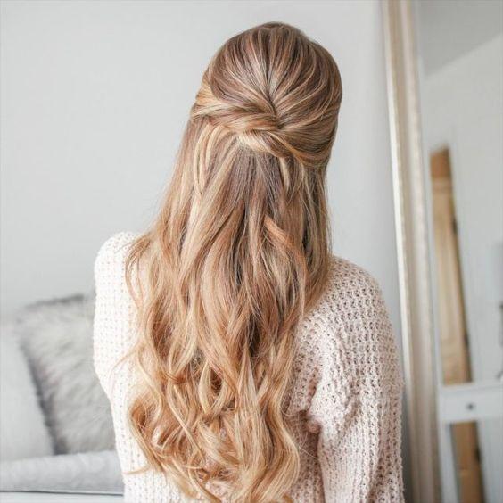 peinado simple pelo largo Peinado noche semirecogido