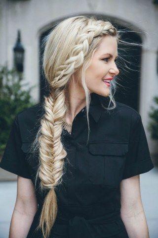 trenza espeiga cuatro hilos juvenil Peinado noche para pelo largo