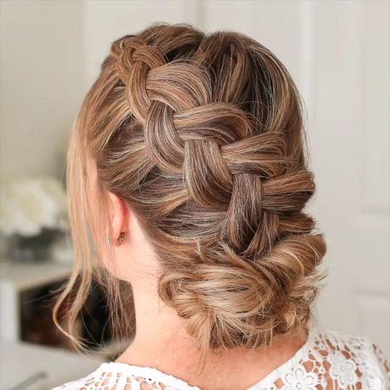 trenza recogida Peinado noche para pelo largo