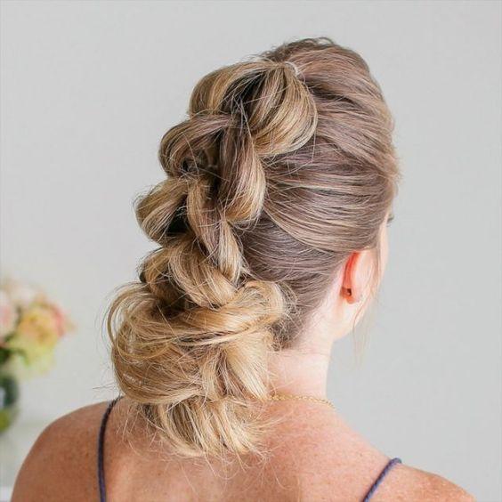 trenza recogida despeinada Peinado noche para pelo largo