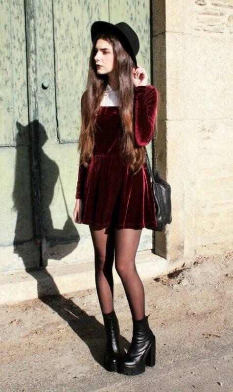 vestido de terciopelo invierno juvenil 1