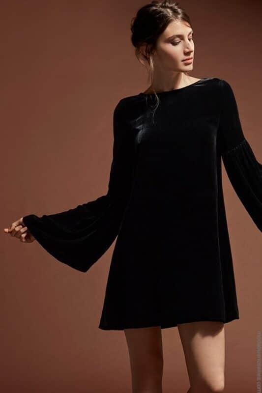 vestido tunica de terciopelo mangas largas