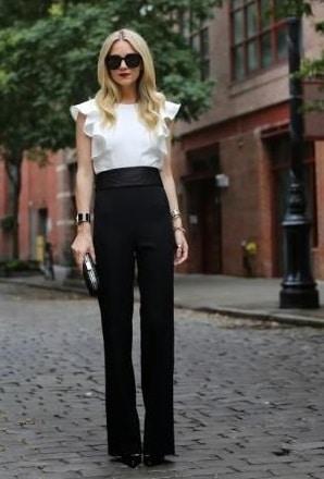 blusa blanca con pantalon negropara la noche