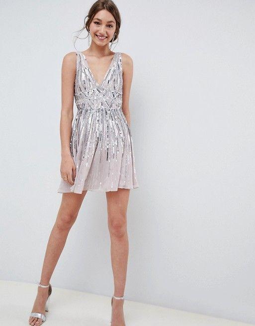 mini vestido con brillo