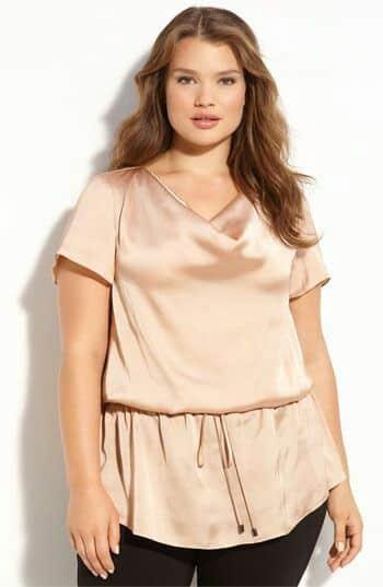 pantalon de vestir y blusa de seda talla grande noche