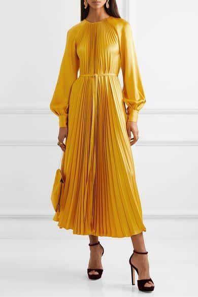 vestido largo con mangas abullonadas