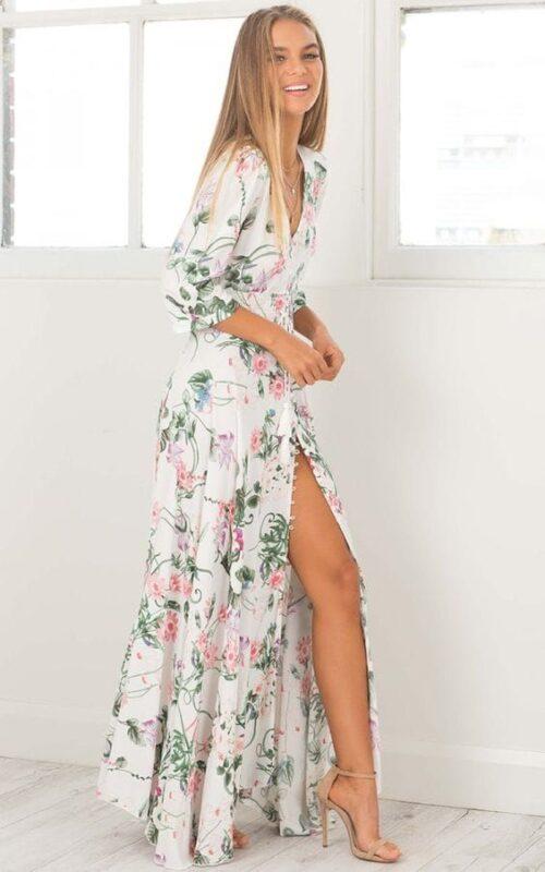 vestido largo contajo estampado