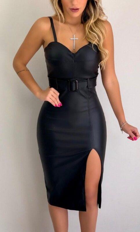 Outfit de noche vestido de cuero negro engomado entallado
