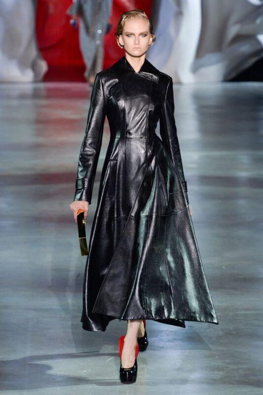 Outfit de noche vestido de cuero negro largo de invierno