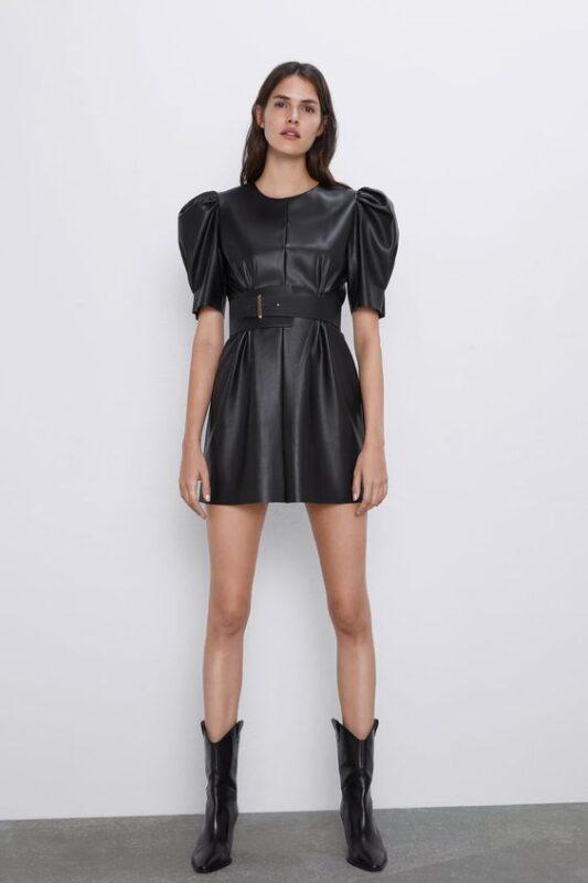 Outfit de noche vestido de cuero negro mangas abullonadas