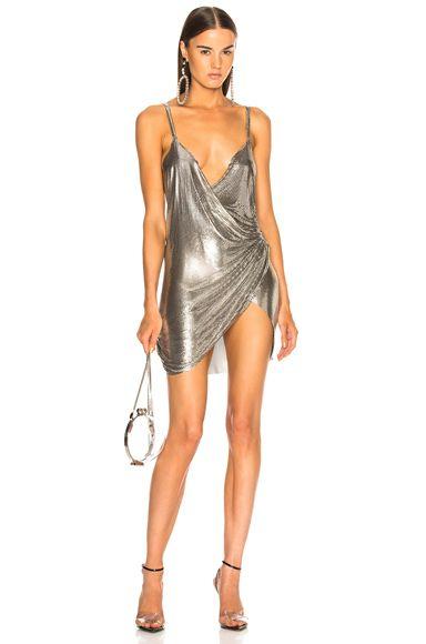 vestido mini plateado