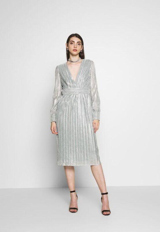 vestido plateado midi mangas largas