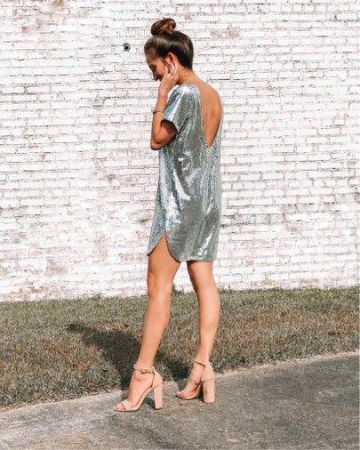 vestido tunica corto plateado
