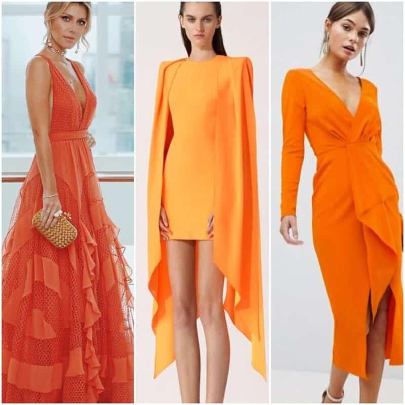 Outfits para fiesta de noche con vestido naranja