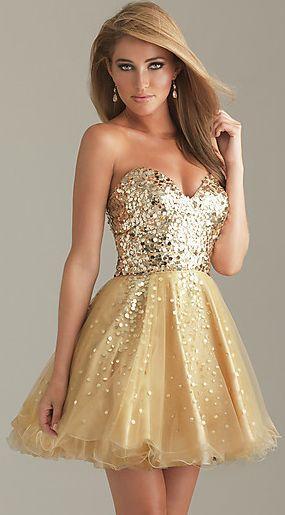 vestido corto dorado juvenil